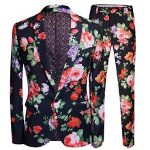 PYJTRL Men Retro Vintage Floral Print 2 Pieces Set Suits Club Bar Evening Party Stage Singer Costume Slim Fit Jacket and Pants