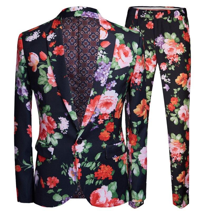 PYJTRL mężczyźni Retro w stylu Vintage kwiatowy Print 2 sztuk zestaw garnitury klub Bar Party wieczór etap piosenkarka kostium Slim Fit kurtka i spodnie w Garnitury od Odzież męska na  Grupa 1