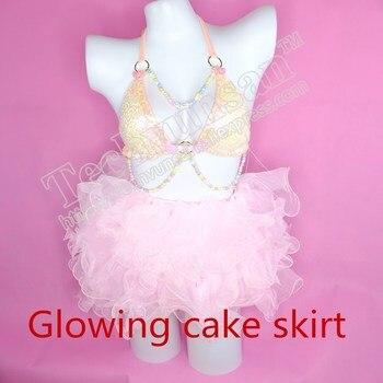 LED Princess Dress COSplay activity Light band lamp Cake dress suit Stage makeup Rabbit girl's super short beauty skirt