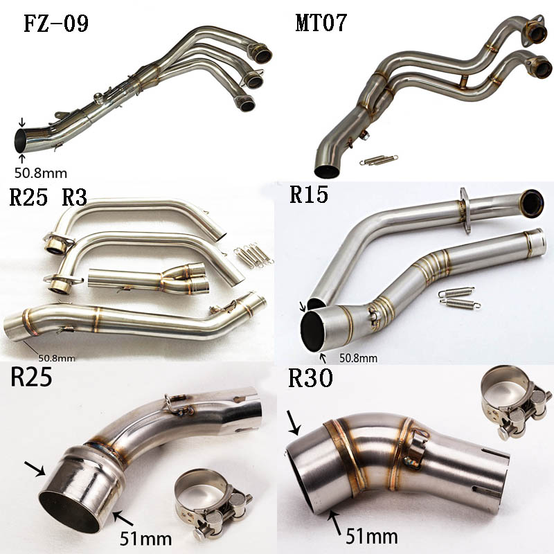 For Yamaha FZ09 MT07 FZ07 R15 R25 R3 R30 YZF FZ-09 MT09 MT-09 Motorcycle Exhaust Muffler Middle Mid Link Pipe Stainless Steel цена