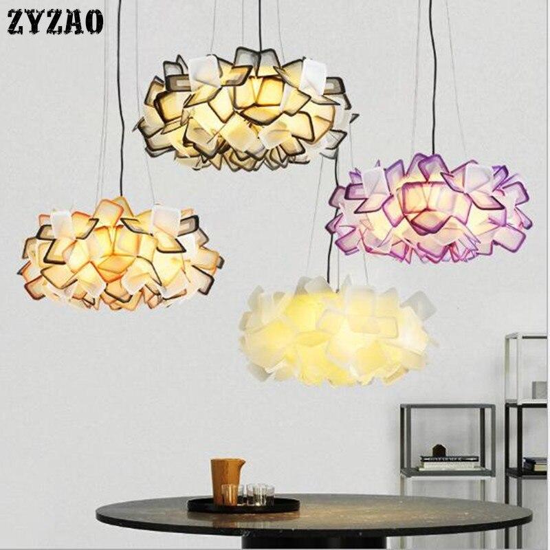 Lampe suspension design nordique salon décor à la maison lampe à fleurs colorées Led lampe suspendue Art déco Restaurant Bar chambre lumières - 5