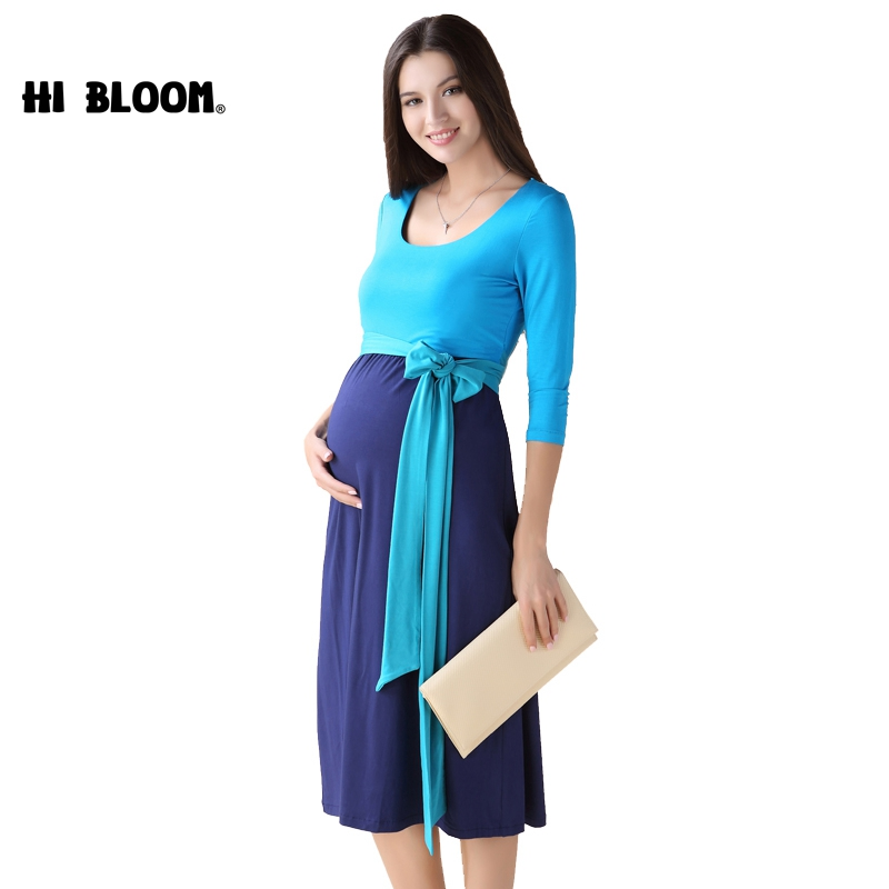 HI BLOOM Maternity Clothes Maternity Dress Elegant Evening Party Dresses For Pregnancy Blue Skirt Office Lady Vestidos maternity clothes elegant office vestido maternity dresses pregnant women evening dress pregnancy party office dresses yl635