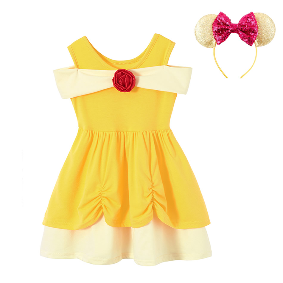 Summer Kids Belle Cosplay Dress Yellow Frock For Girls Toddler Dress Up Costumes Baby Girl Belle Theme Clothes Party Outfits 1