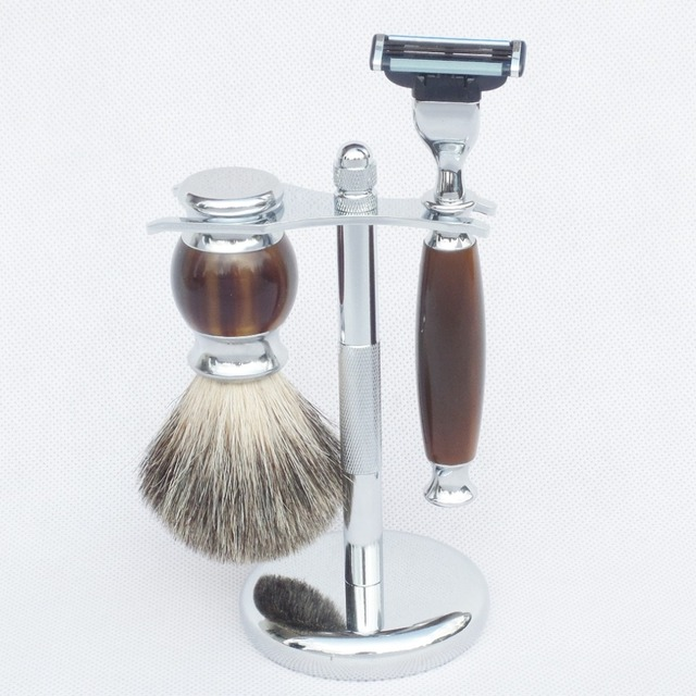 3pc High Quality Shaving Brush Stand Stainless Steel Safety Razor Set for Men's Beard Care