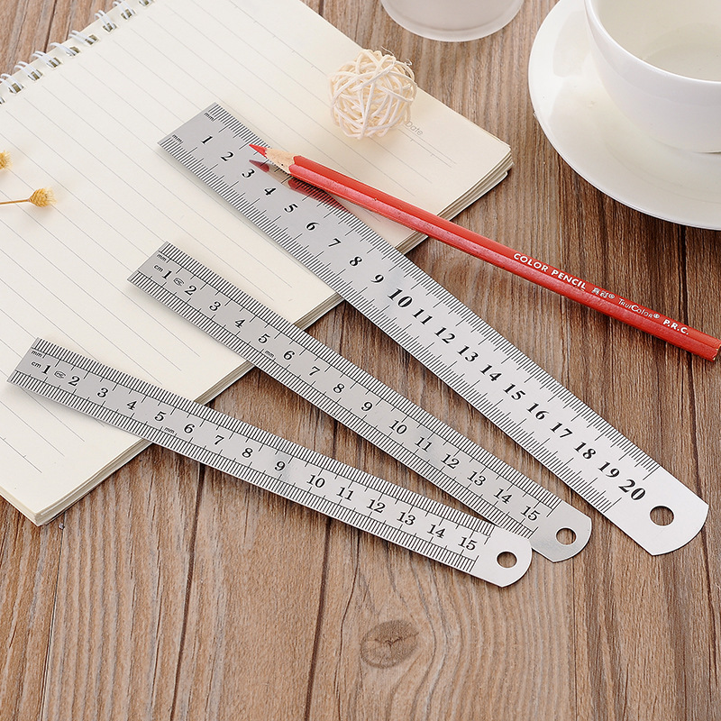 1 PC Stainless Steel Metal Ruler Metric Rule Precision Double Sided Measuring Tool 30cm 20cm 15cm Straight Rulers
