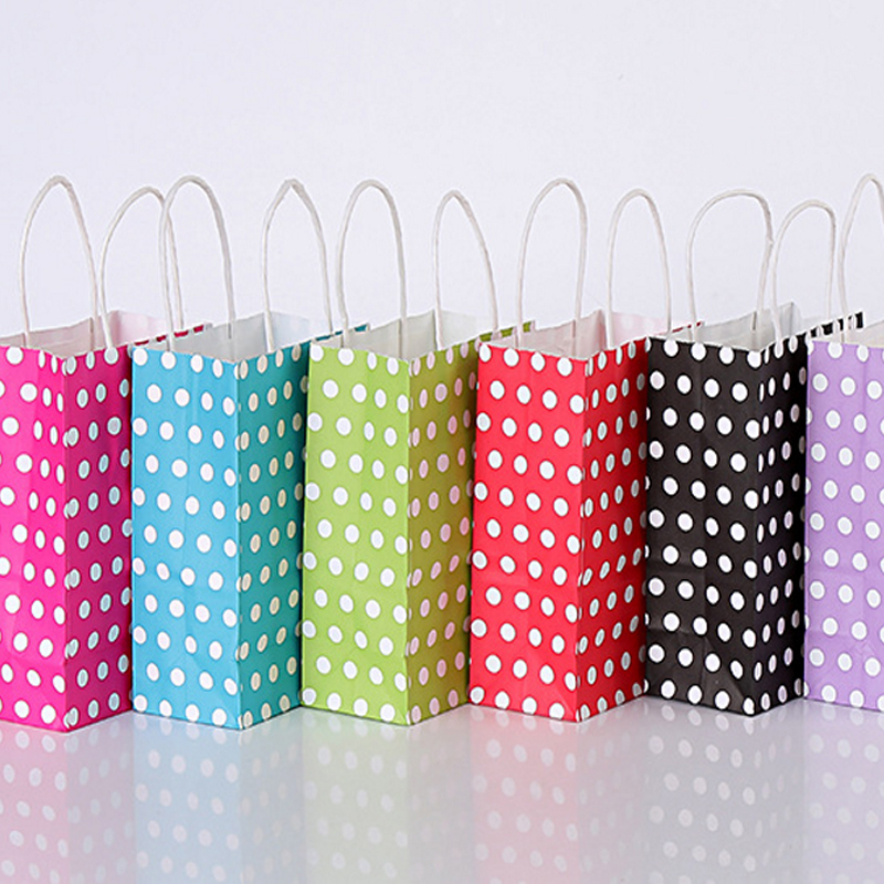 Image 3 - 40PCS/lot Polka Dot kraft paper gift bag with handles 21*15*8cm Hotsale Festival gift bags DIY multifunction shopping bagsGift Bags & Wrapping Supplies   -
