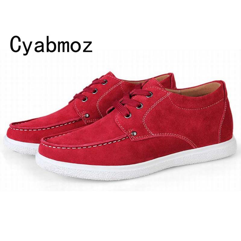 Men's Height Increasing Elevator Cow Suede Leather Casual Shoes with Hidden High Heels 6CM Moccasins men loafers New Fashion