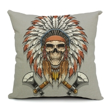 Hot Sale Pillow Covers Hot Sell Skull And Animal Totems Pattern New 45X45CM Linen Pillow Cover  Home Decorative Linen Cushion