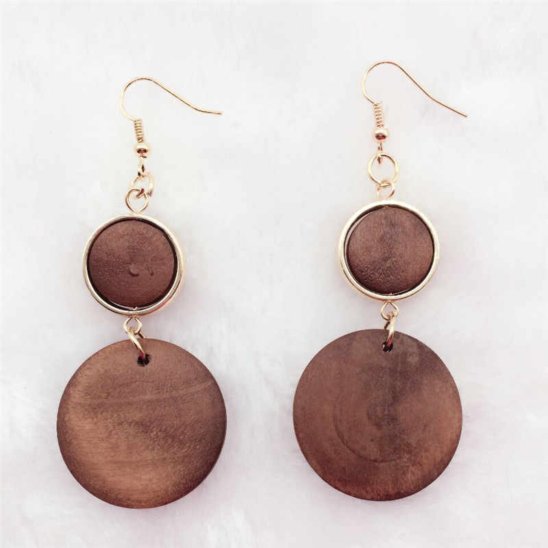 pair  brown new design personality  Latest good quality handmade natural african wood earrings jewelry lot