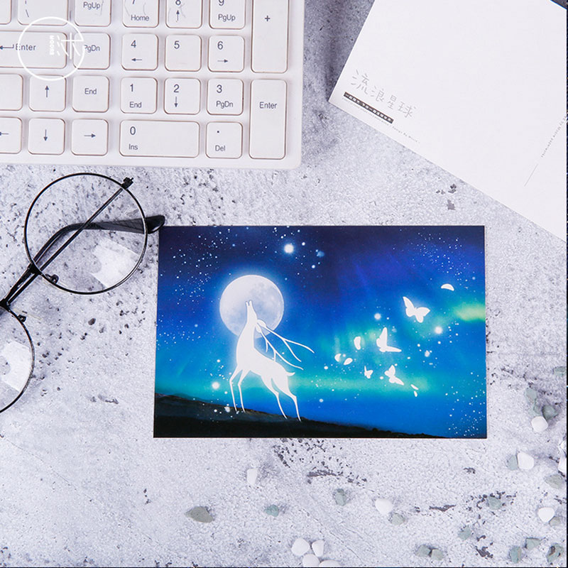 30pcs box Night Light Vagrant Planet Greeting Cards Post Card For Birthday Christmas Valentine 39 Day Party Wedding Decoration in Cards amp Invitations from Home amp Garden