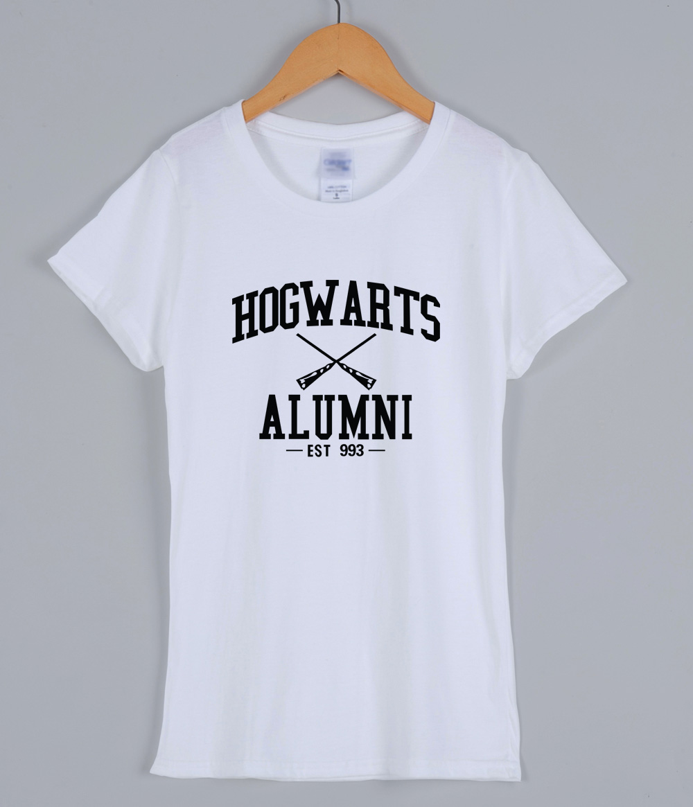 T-shirts 2018 For Women HOGWARTS ALUMNI Cotton Casual Summer T Shirt For Lady Slim Harjuku Female T-shirt Tops Kpop Women's Suit