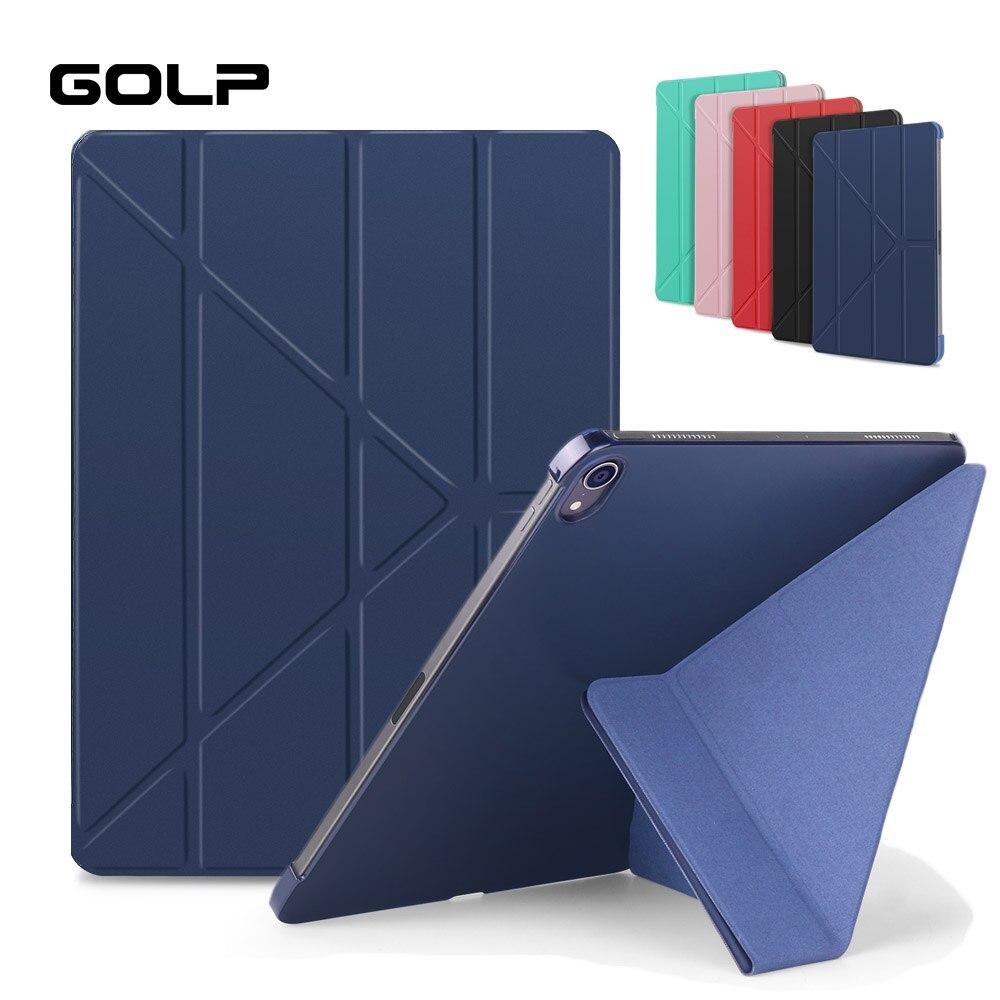 Caso Magnético inteligente Para iPad Pro 11 2018 Tampa, GOLP Ultra Slim PU LEATHER + PC Rígido de Volta caso tampa do Suporte Da Aleta para o iPad Pro 11