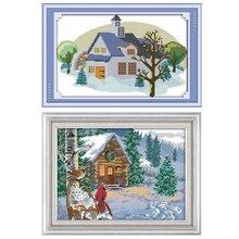 Joy Sunday,Winter snow scene,cross stitch embroidery set,printing cloth kit,needlework,DIY cross