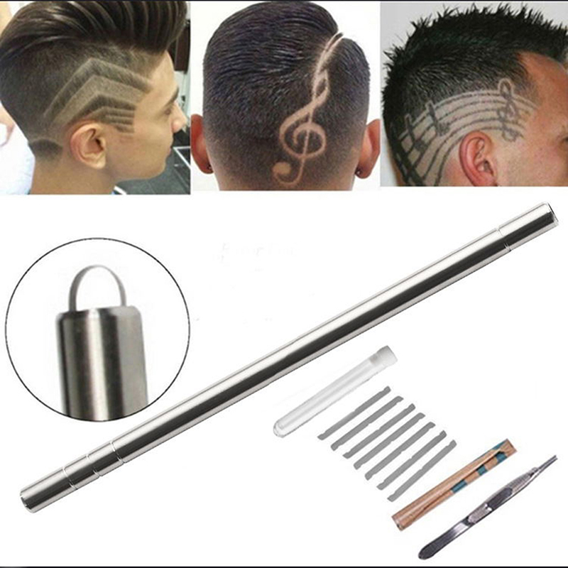 1Pen With 10 Blades Hair Carving Pen Magic Oil Head Notch Man Hair Refined Steel Pen Barber Eyebrow Shaving Shave