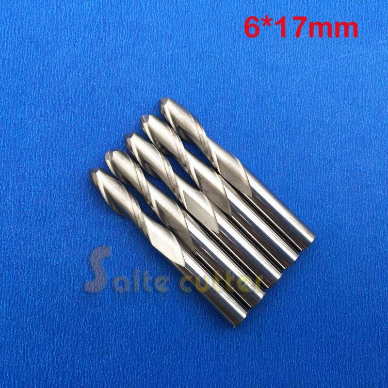5pcs 6*17MM Two Flutes Ball Nose Bits, Carbide End Mill, Engraving Cutting Tools, CNC Router Cutters, Acryl, PVC
