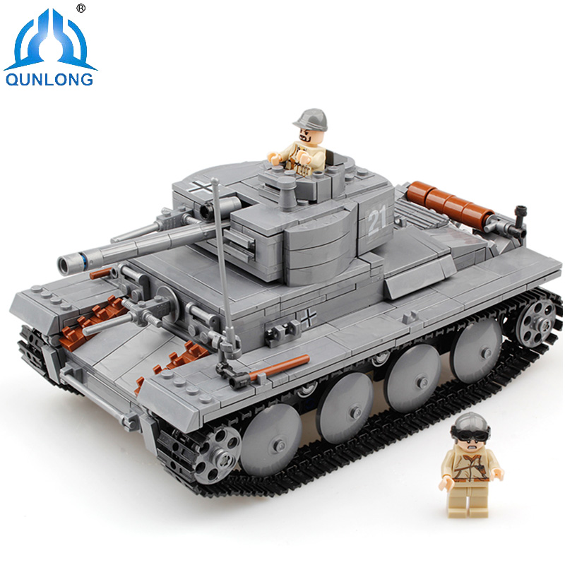 Qunlong Military PZKPFW-II Tank 3D Model Set Educational Christmas Toys For Children Building Blocks Compatible Legoe Star Wars 8 in 1 large military figures warship fighter helicopter tank ship building blocks set children educational toys for boys