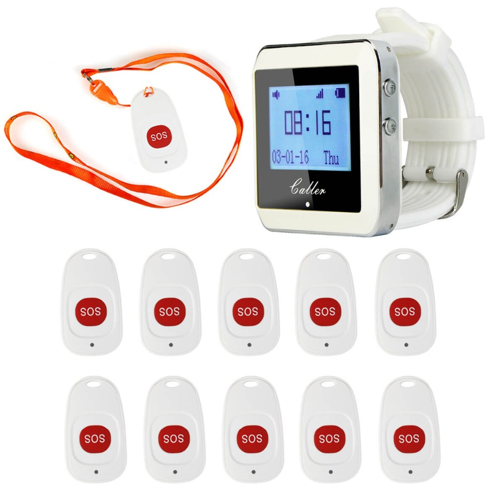 Wireless Hospital Nurse Calling System 1 Watch Receiver+10 Call Bell Emergency Call Button for Hospital Patient Elderly F4466B wireless table call system monitor bell buzzer used in the cafe bar restaurant 433 92mhz 2 display 1 watch 18 call button