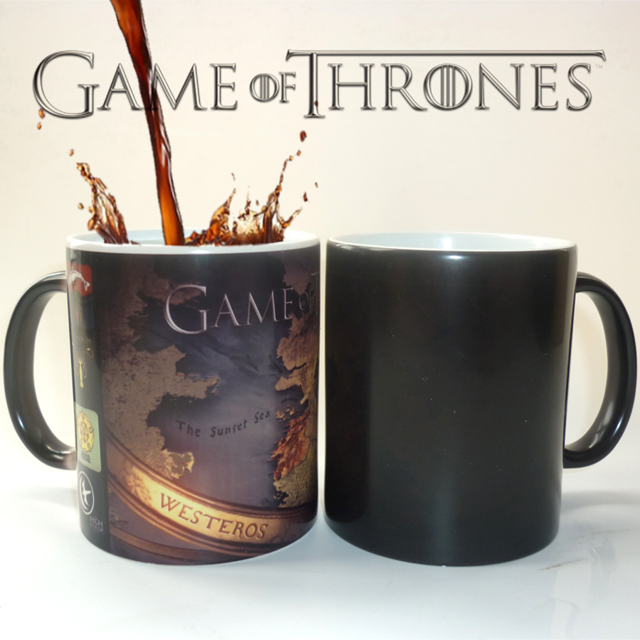 Drop Shipping game of thrones mugs office coffee mug cold hot heat changing color magic mug tea cups best gift for your friends