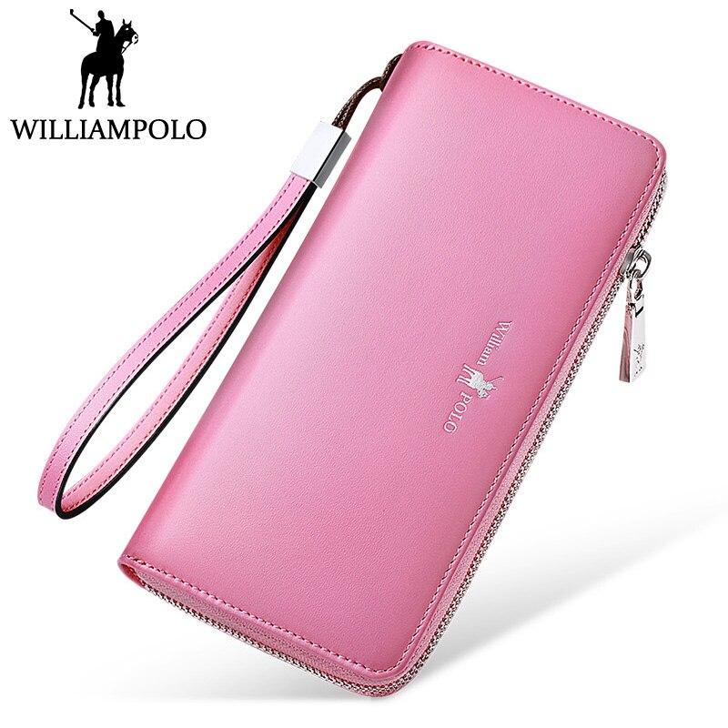 купить WILLIAMPOLO Luxury Leather Wallet Women Card Holder Clutch Wallet Female Long Purse Zipper Hand Strap Phone Bag Pink Black онлайн