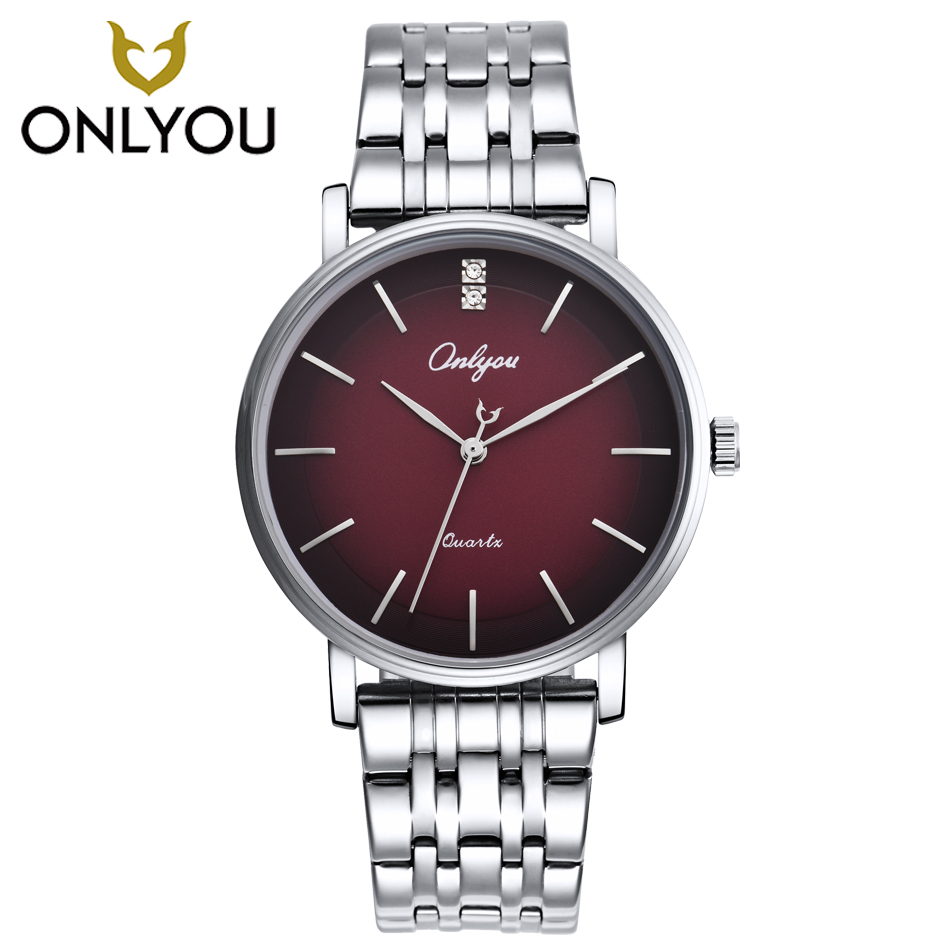 ONLYOU Men Watches Top Brand Luxury Gold Quartz Women Watch Gift Clock Ladies Gold Dress Wristwatch Stainless Steel lovers watch цена 2017