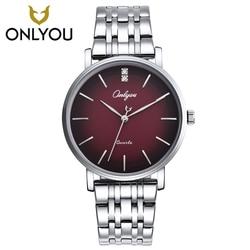 ONLYOU Men Watches Top Brand Luxury Gold Quartz Women Watch Gift Clock Ladies Gold Dress Wristwatch Stainless Steel lovers watch