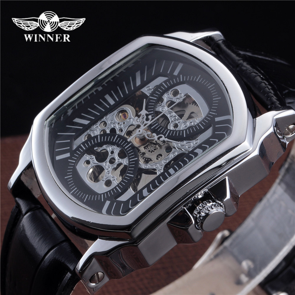 2018 New Fashion Winner Brand Automatic Skeleton Watch Tonneau Design Leather Band Men Vintage Luxury Mechanical Wrist Watches