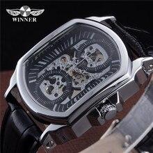2018 Новая мода Победитель Марка автоматические часы Скелет Tonneau дизайн кожаный ремешок для мужчин Винтаж Роскошные Механические наручные часы