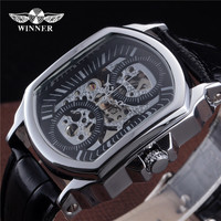 2016 New Fashion Winner Brand Automatic Skeleton Watch Tonneau Design Leather Band Men Vintage Luxury Mechanical