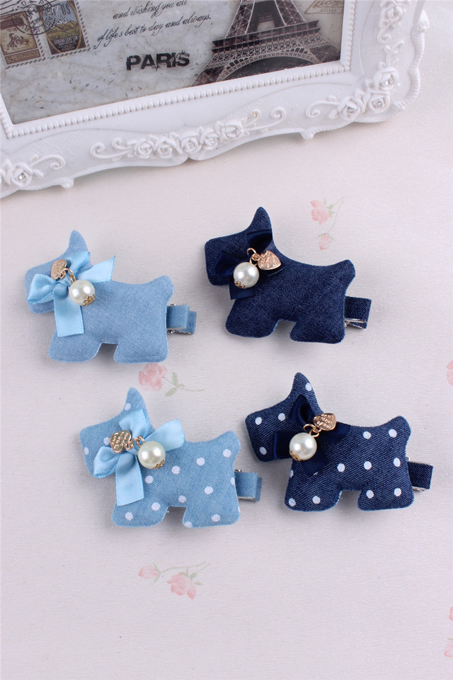 Denim dots gift children kids baby girls hair accessories hair bands hairpin dog Retail wholesale Boutique tiara
