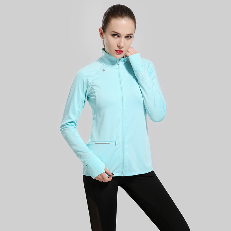 Women Jacket Shirts Slim Comfy Zip Up Stretchy WorkOut Sweatshirts Pocket Coat Sweater Outerwear