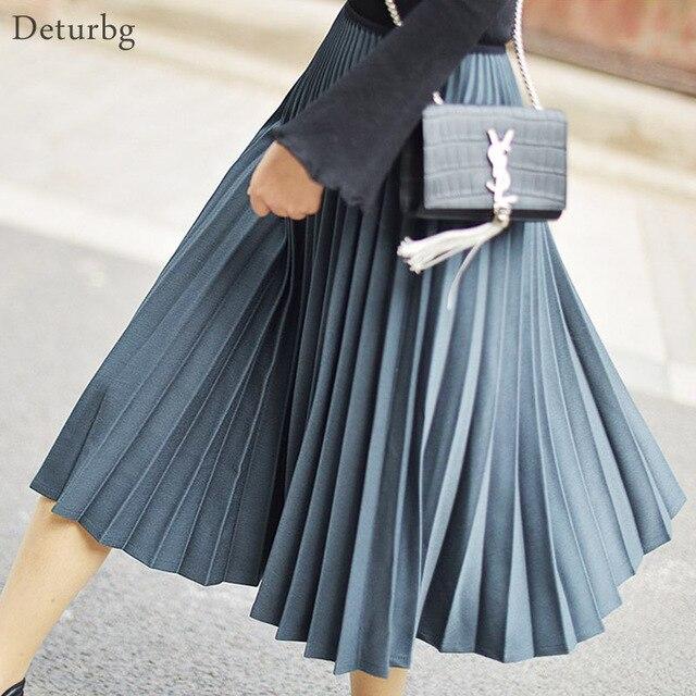 0c160c48c17 Womens Vintage Solid Color Midi Skirt Ladies Casual Elastic High Waist  Twill White Pleated Skirts Saias