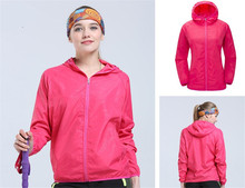 New Men&Women Quick-dry Hiking Jacket Light-weight Windproof Waterproof Nylon Sports Sun-protective Top Suit With Hat