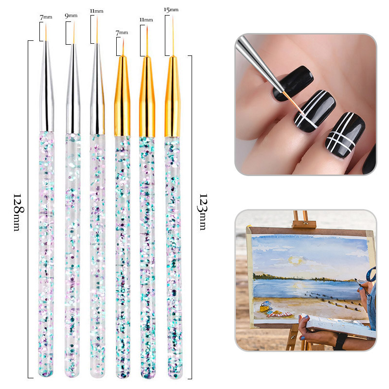 3pcs/set Sequin Handle Nylon Paint Brush Different Size Watercolor Nail Brush Pen For Students Girls School Office Art Supplies image