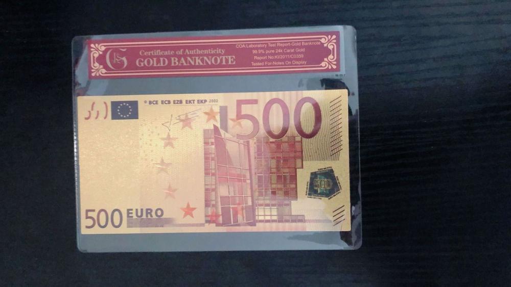 24 k Altın Banknot Folyo Euro 500 Faturaları Avrupa Birliği Kağıt Sahte Para Koleksiyonları Para Vintage Hatıra Banknot