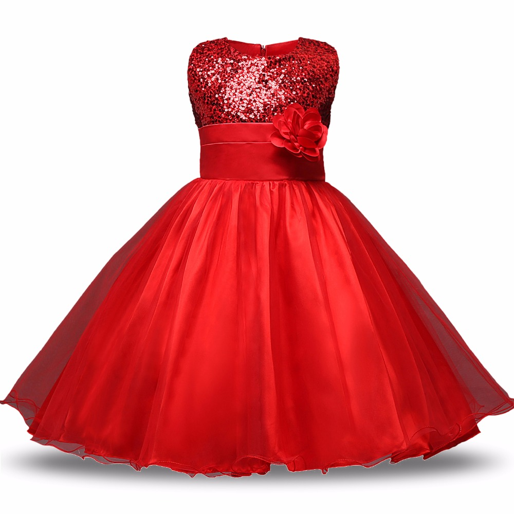 Red Flower Princess Wedding Dress Girl Sequin Tulle Dresses Children Clothing Ball Gown Girls Clothes Kids Party Dresses Summer muababy big girls princess dress summer children flower sleeveless tulle prom party dresses kids girl wedding evening ball gown