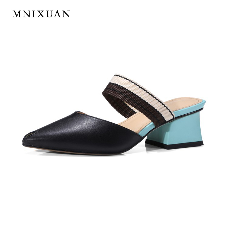 Fashion new women shoes sandals 2018 summer sexy ladies pointed toe block heel casual genuine leather high heels black and white women high heel shoes women slingbacks sandals genuine leather solid color black white summer fashion casual shoes round toe
