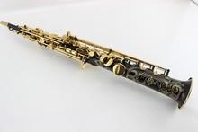 New Selmer Black Nickel Gold straight soprano saxophone carved gold key Falling Tune B (C) saxophone mouthpiece
