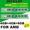 Оптовая НОВЫЙ Бренд 2 ШТ./ЛОТ 4 ГБ + 4 ГБ = 8 ГБ DDR3 1333 МГц 1600 МГц РАМН Памяти для Настольных ПК Памяти PC3 AMD Системы
