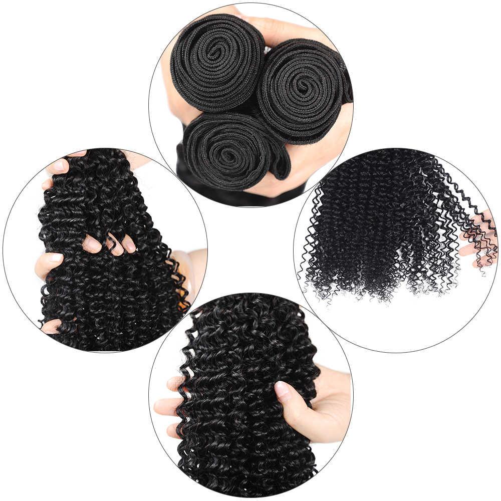 Kiss Mee малазийские кудрявые вьющиеся пучки волос с закрытием человеческие волосы ткет 100% Remy 10-26 дюймов 3 пучка с кружевной застежкой