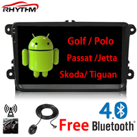 Rhythm 2 din Android 6.0 Car radio for vw passat b7 b6 golf 5 polo tiguan octavia rapid fabia with gps navigation radio player