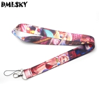 DMLSKY 24pcs/lot Suicide Squad Harley Quinn Cool Lanyard Keychain for keys Badge ID Mobile Phone Neck Straps Accessories M3104
