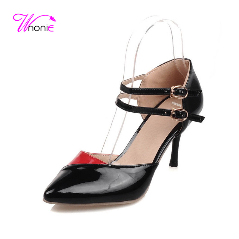 ФОТО 2017 New Fashion Women Sandals Ankle Strap High Heel Thin Spike Pointed-toe PU Patchwork Dress Party Sexy Summer Cool Lady Shoes