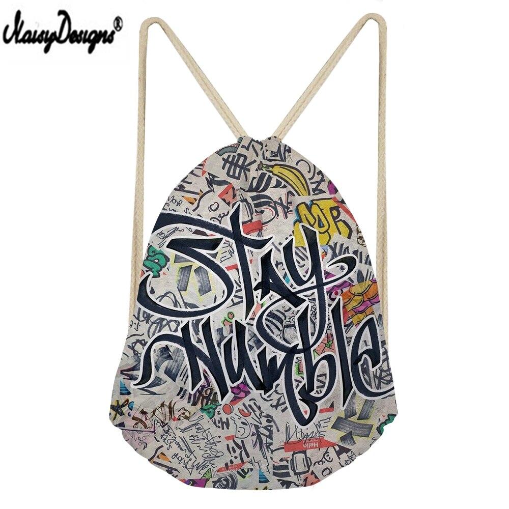NOISYDESIGNS Children Linen Storage Bags Hip Hop Graffiti Printed Small Drawstring Sack Women Shopping Mochilas 3D