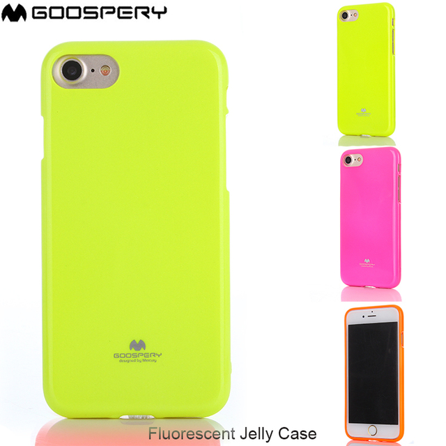 finest selection 3f67e 851e0 US $4.0 15% OFF|Original Mercury Genuine Goospery Fluorescent Jelly Case  Cover for iPhone 6 6s 7 8 Plus X -in Fitted Cases from Cellphones & ...