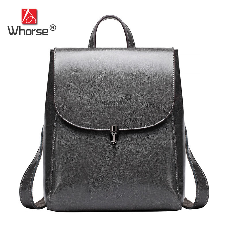Simple Genuine Leather Backpack Women England School Bag Cowhide Ladies Back Pack Travelling Bags For Woman High Quality W07860