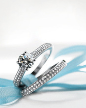 Bamos Luxury Female White Bridal Wedding Ring Set Fashion 925 Silver Filled Jewelry Promise CZ Stone Engagement Rings For Women