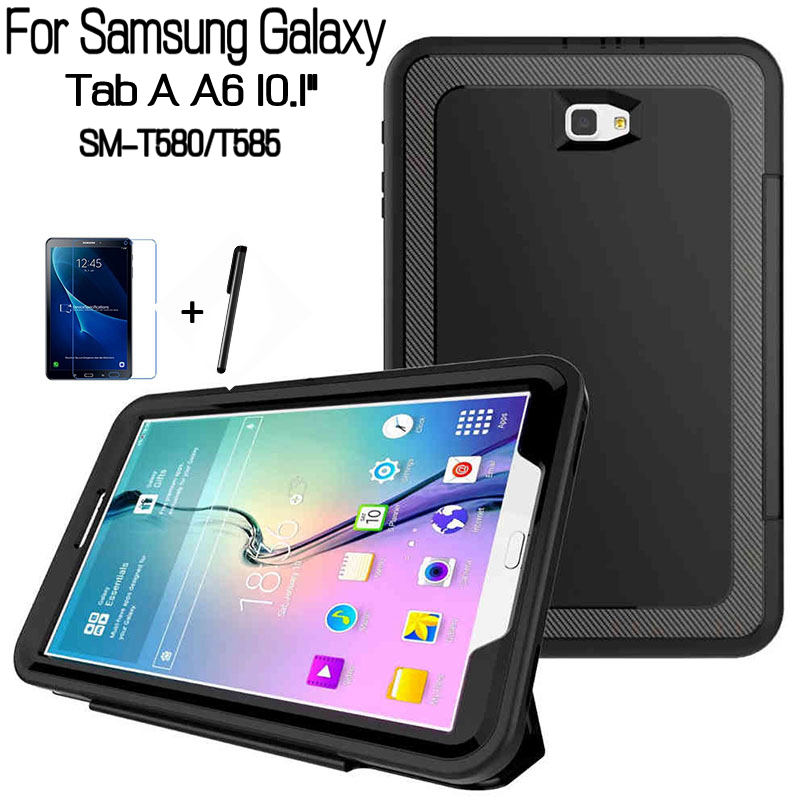 Hybrid Magnetic Shockproof Smart PU Leather Cover for Samsung Galaxy Tab A T580N T585 10.1 Tablet Fund Case+Film+Pen ultra thin smart flip pu leather cover for lenovo tab 2 a10 30 70f x30f x30m 10 1 tablet case screen protector stylus pen