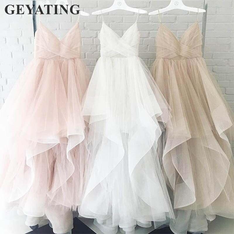 Simple Tulle blanc Blush rose robe de mariée 2019 Photos réelles bretelles Spaghetti Champagne dos nu Boho plage robes de mariée nouveau