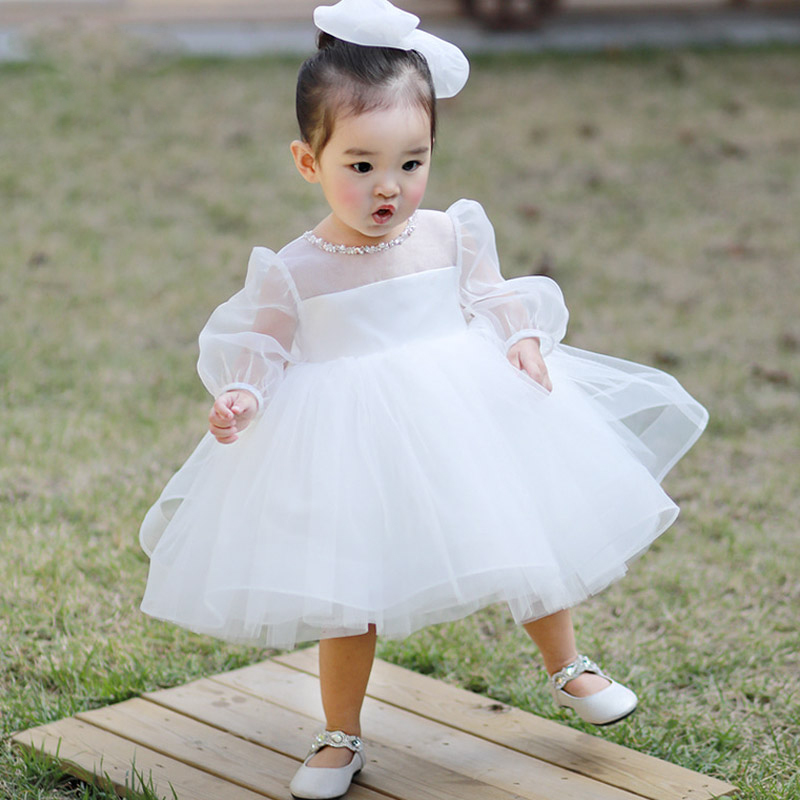Puff Sleeve Baby Princess Dress White Flower Girl Dress Tulle Bow Ball Gown Birthday Party Dresses For Girl Communion Dress E319 batwing sleeve pocket side curved hem textured dress