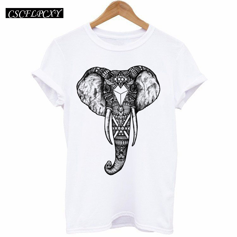 HTB1cS5rd2fM8KJjSZPfq6zklXXaw - 2017 Casual T-shirt Women Tshirt Short Sleeve Kawaii Elephant Print Camisetas Mujer Tops Tee Shirt Female O-neck White Tees